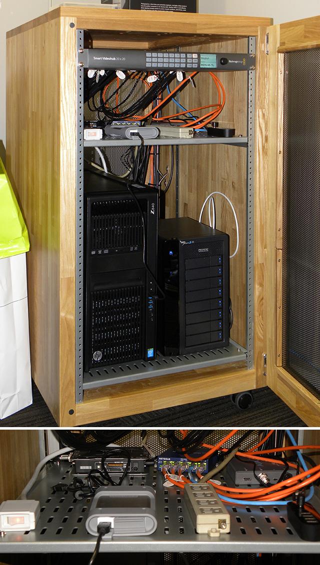 デスク横のラックにWorkstaion Z840とPROMISEのPegasus2 R8を搭載したラックを設置。ラックの上段には20×20のSmart Videohub、中段奥にはローランドのVC-1-DLなどが配置されている